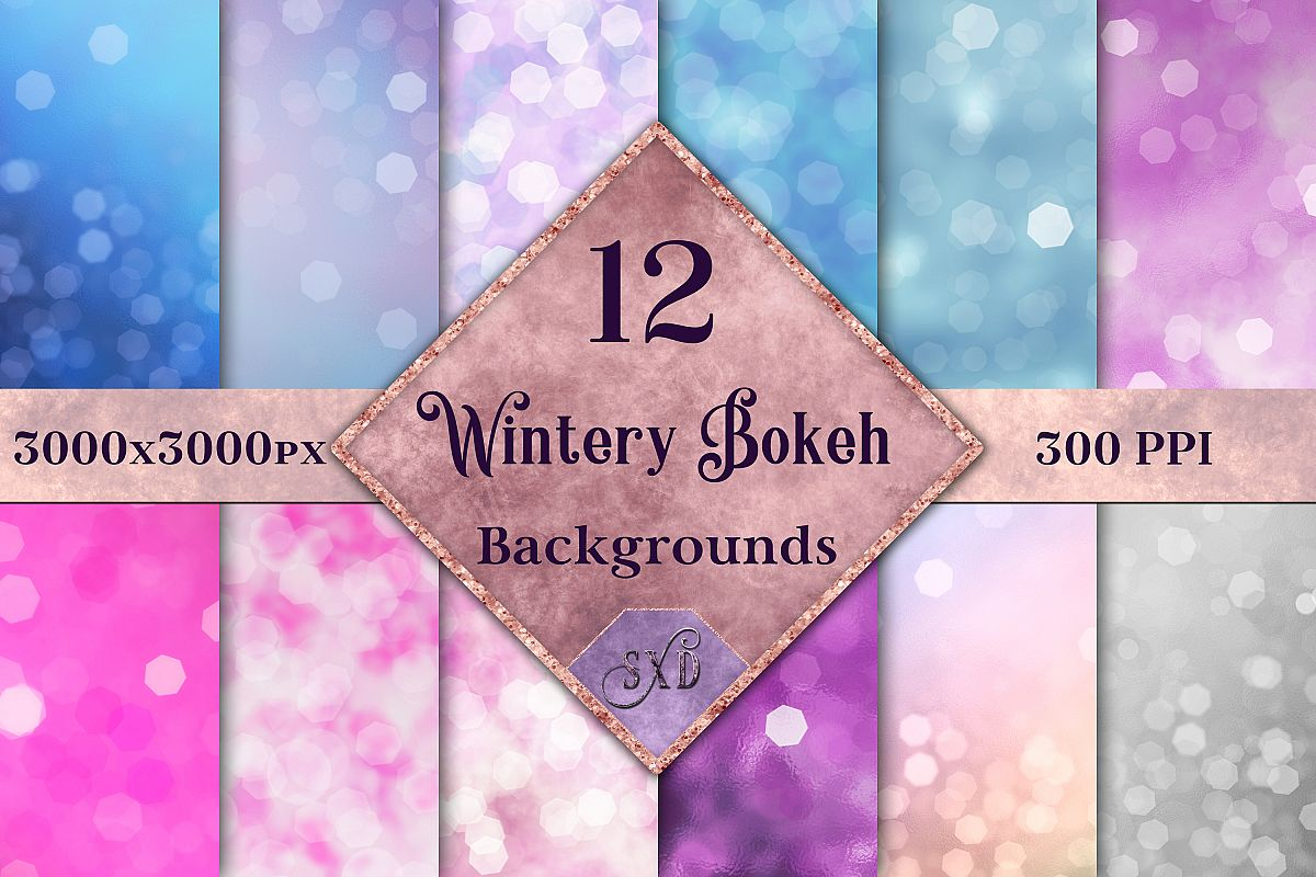 Wintery Bokeh Backgrounds - 12 Image Textures Set example image 1