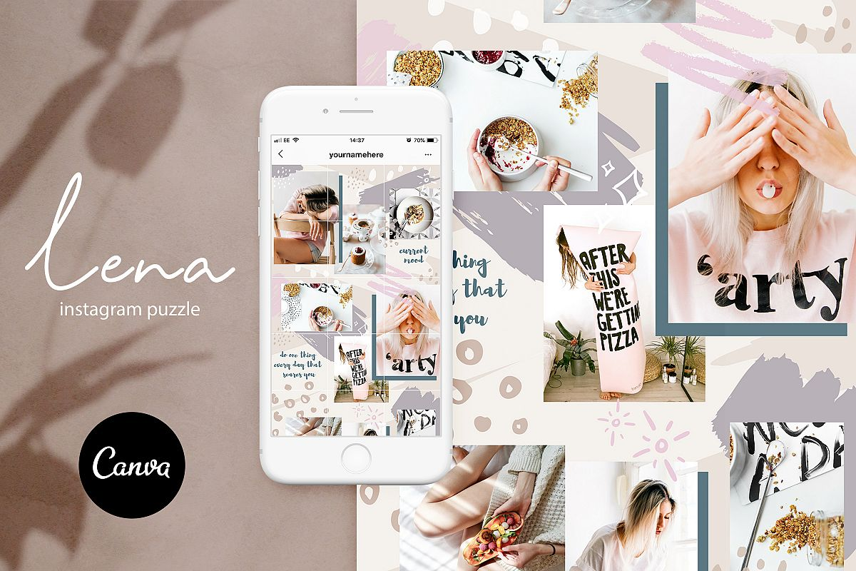 Instagram grid layout pack for Canva example image 1