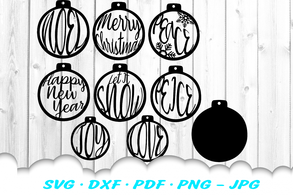 Christmas Ornament Earring SVG DXF Cut Files Bundle example image 1