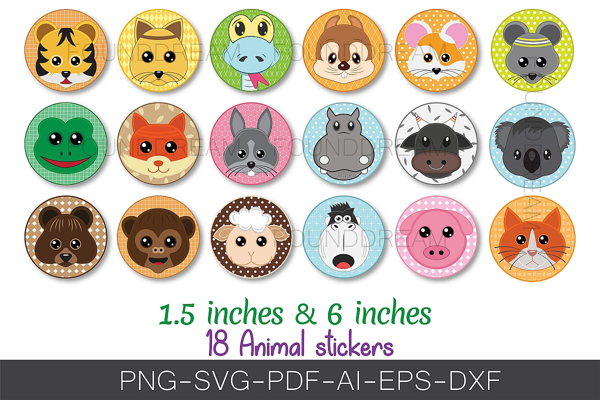 Cute Animal clip art | svg files example image 1