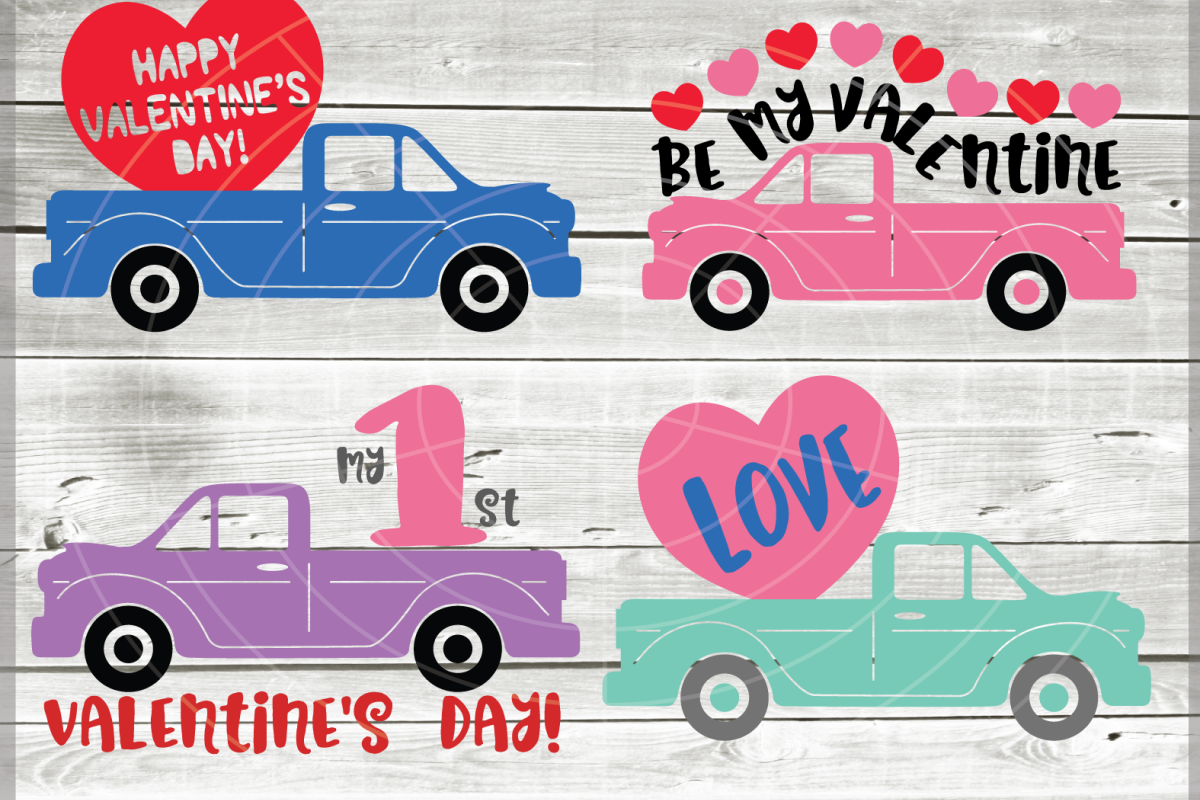 Valentine truck svg - truck SVG - Valentine truck WITH HEART example image 1