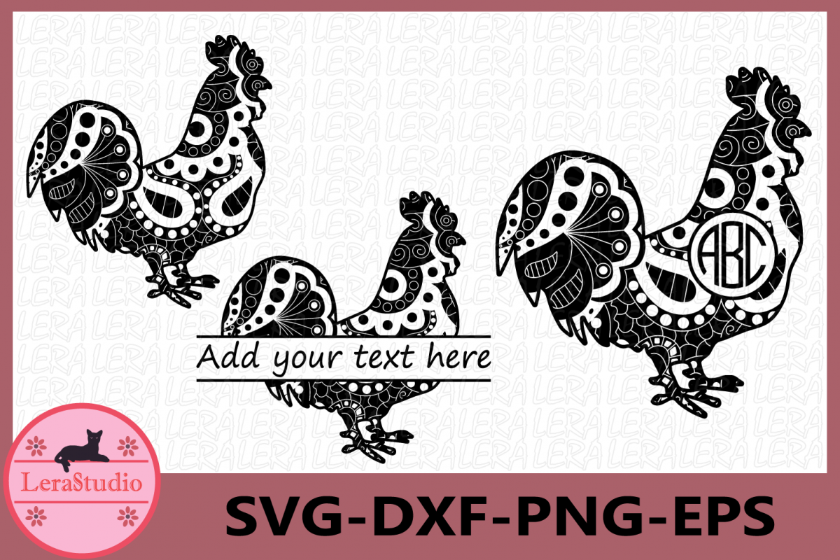 Cock Rooster Zentangle SVG, Farm svg, Animals Svg, Rooster example image 1