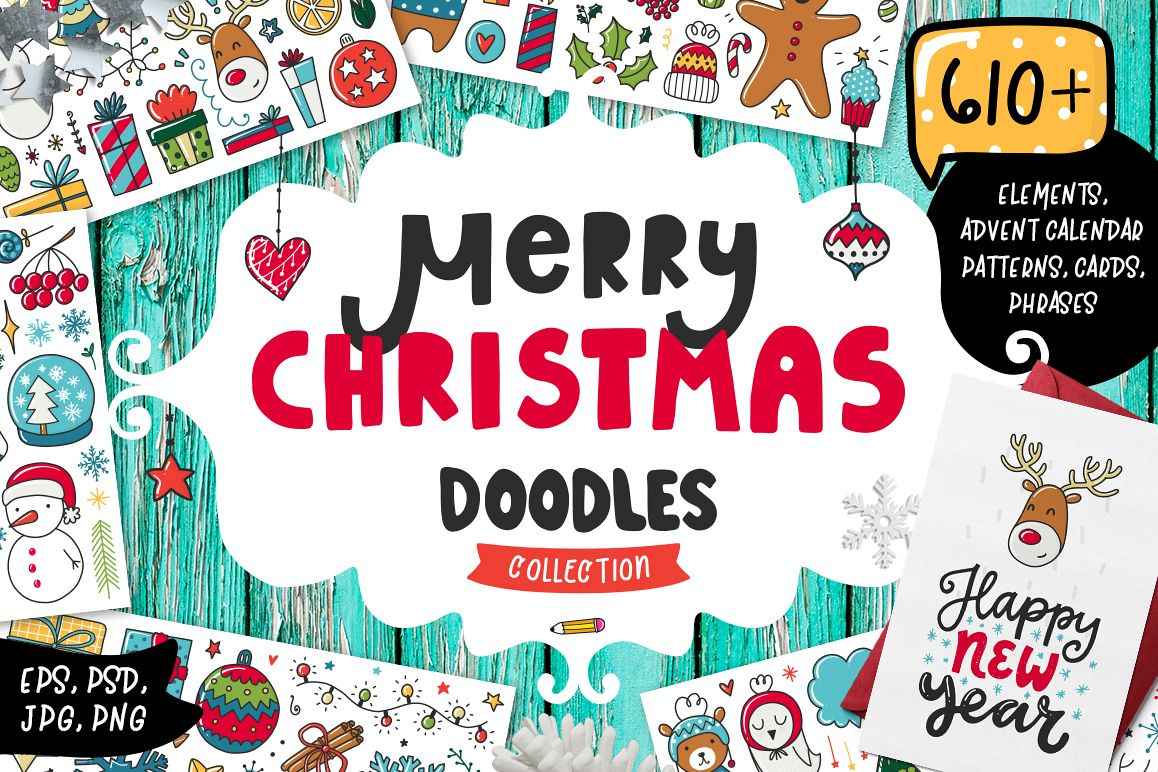 610+ Christmas Doodles - Clipart Set example image 1
