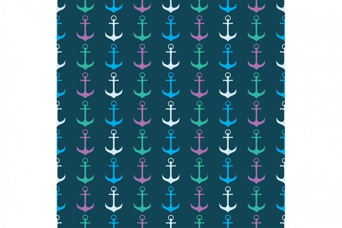 Seamless vector pattern with anchors.  example image 1