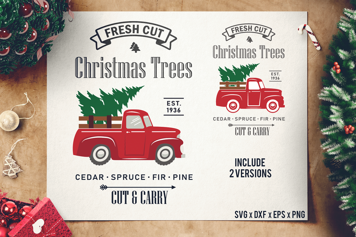 Fresh Cut Christmas Trees Sign.Christmas Tree Truck Svg Red Tree Truck Sign Svg Cut Files