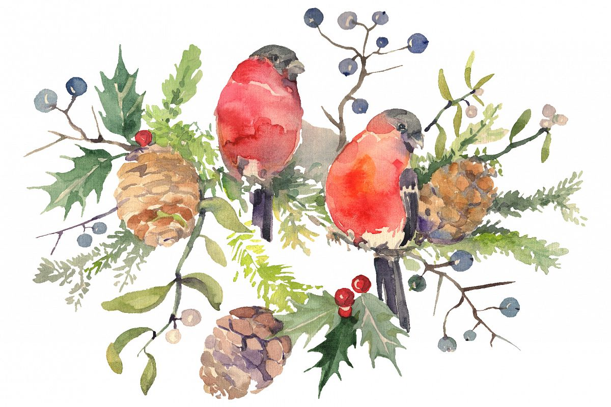 Christmas bouquet with bullfinch Watercolor png example image 1