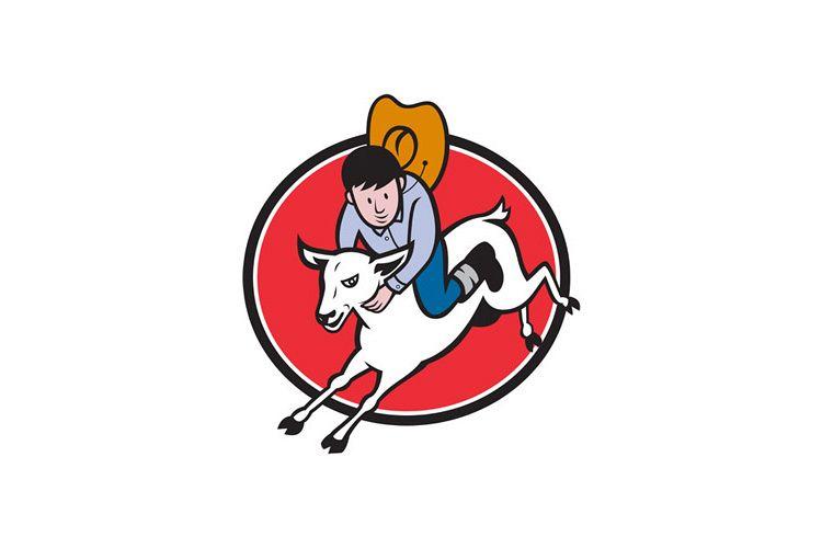 Junior Rodeo Cowboy Riding Sheep example image 1