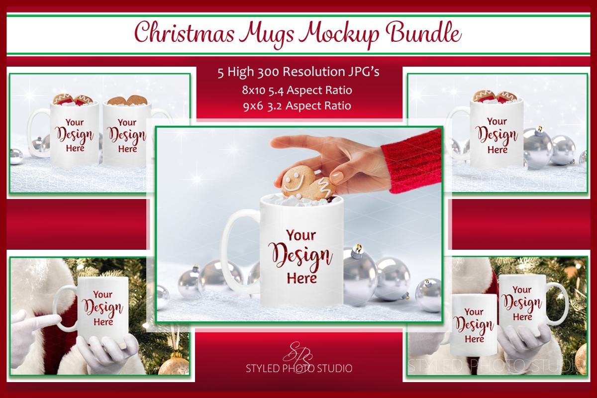 Christmas Mug Mockup Bundle, Cup Mock Up Bundle, JPG example image 1