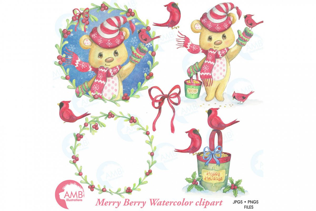 Christmas clipart watercolor, watercolor graphics, Merry Christmas bear illustrations AMB-1489 example image 1
