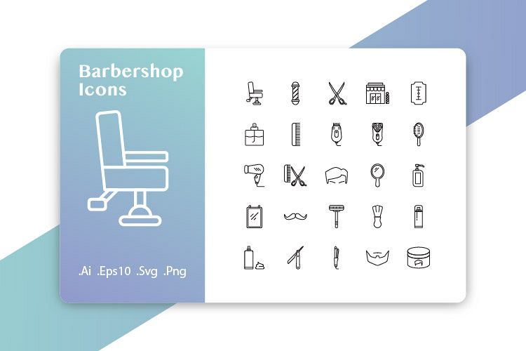 25 Barbershop Icons Line example image 1