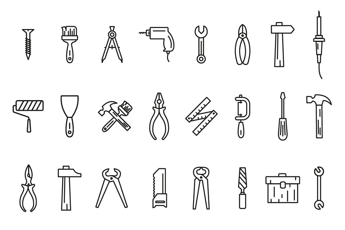 Line art icons tool set. example image 1