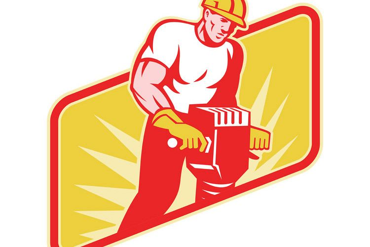 Construction Worker Drilling with Jack Hammer example image 1