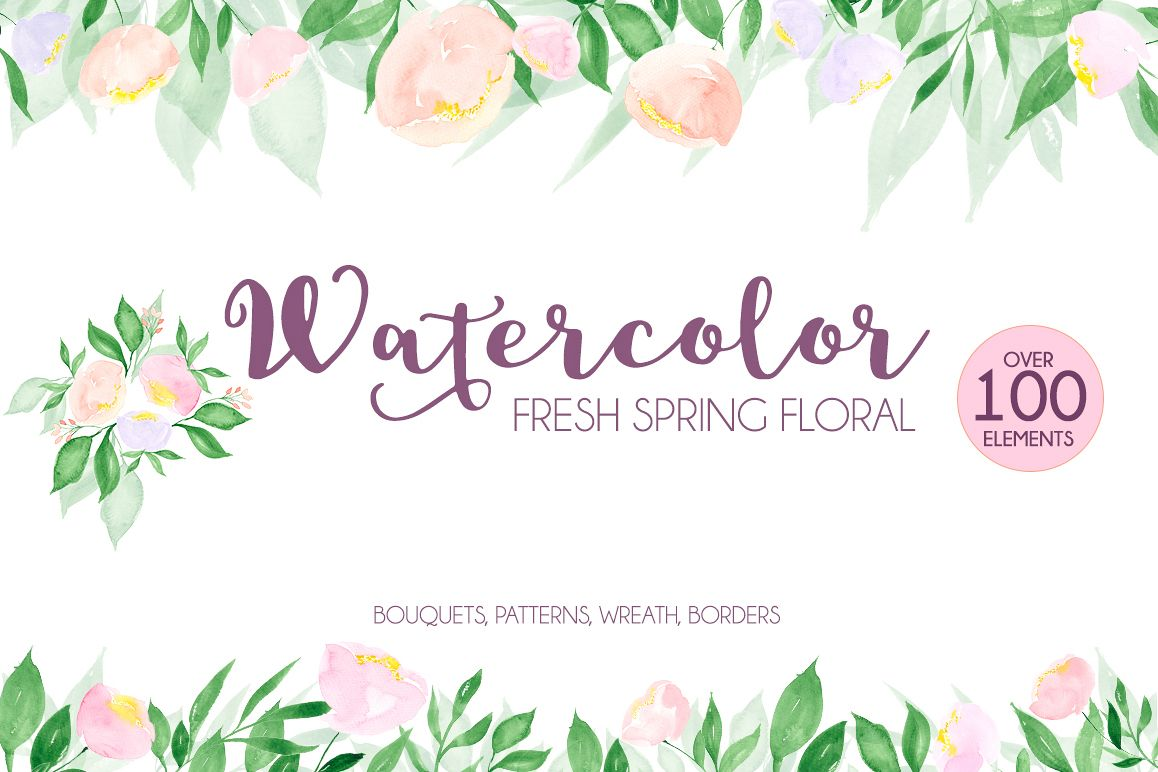 Watercolor fresh spring floral example image 1