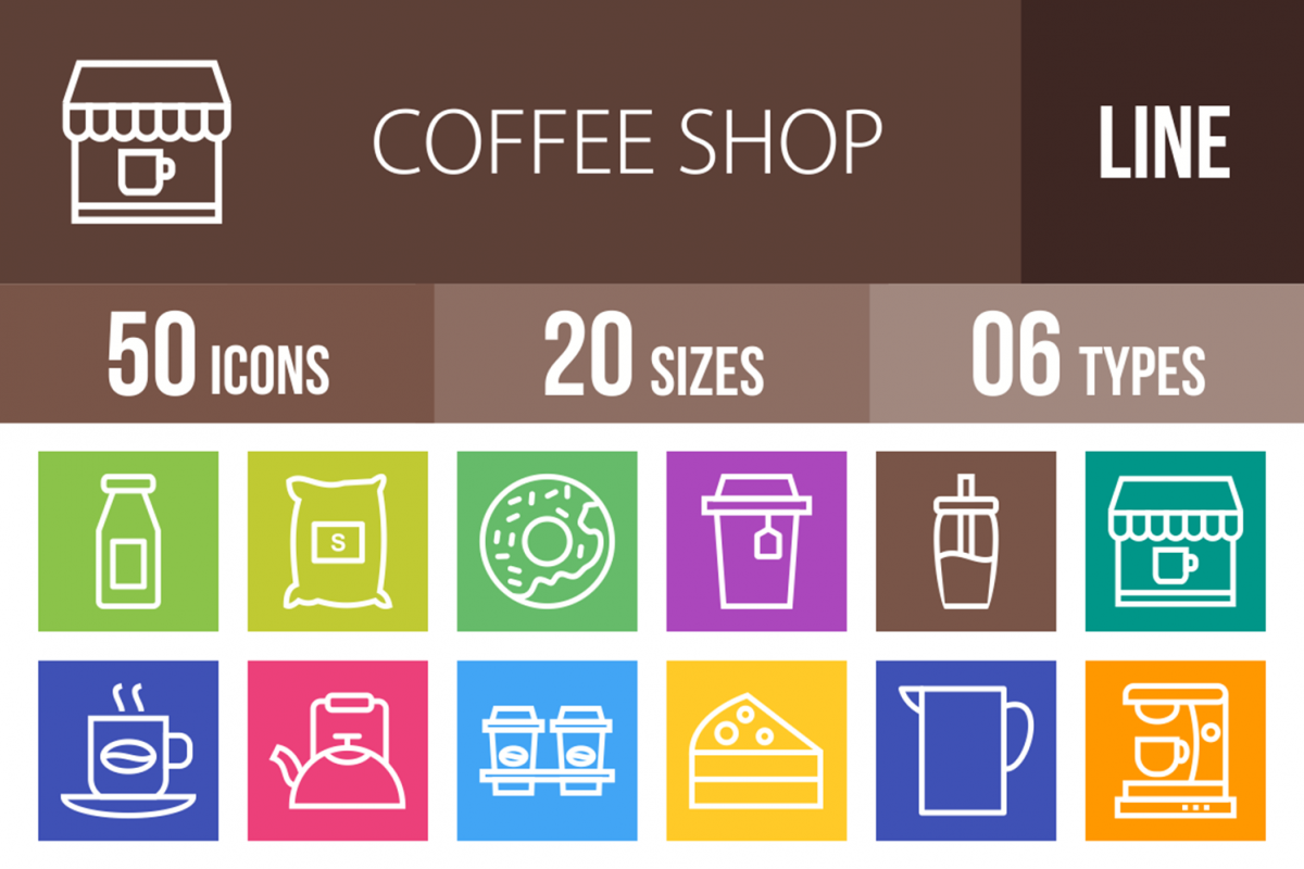 50 Coffee Shop Line Multicolor B/G Icons example image 1