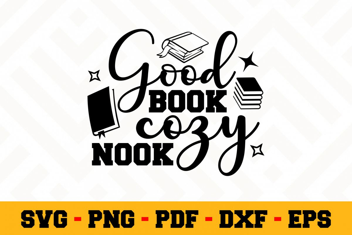Book Lover SVG Design n615 | Reading SVG Cut File example image 1