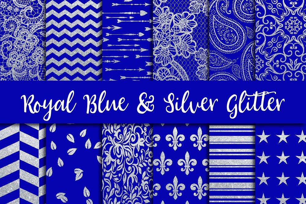 Royal Blue & Silver Glitter Digital Paper example image 1