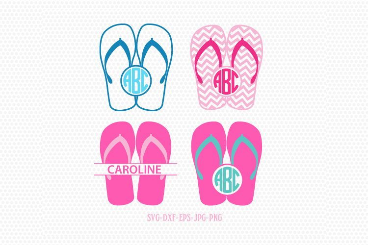 Summer Flip Flops monogram frames SVG, Summer Monogram frames Svg,beach  flip flop svg,for CriCut Silhouette cameo Files svg jpg png dxf