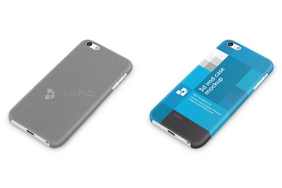 Apple iPhone 5C 3d IMD Mobile Case Design mockup- Down view 2013 example image 1