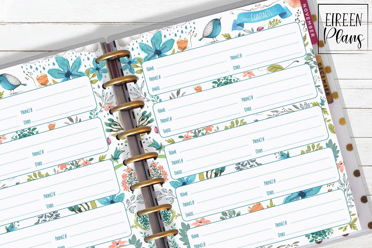 Contacts Printable for Classic Happy Planner example image 1