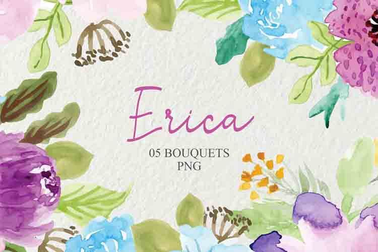 Watercolor Flowers Clipart, wedding Floral example image 1