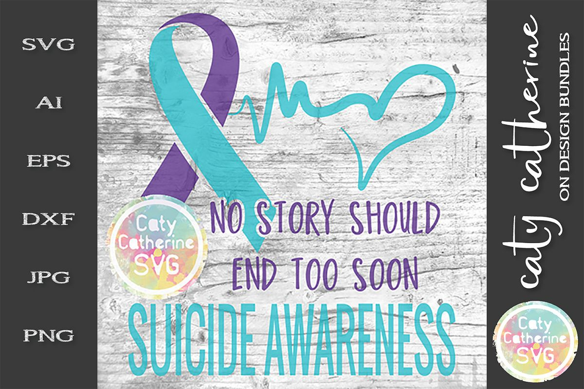 Suicide Awareness SVG Ribbon Cut File example image 1