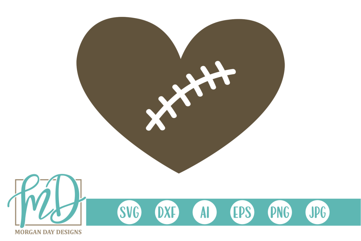 Football Heart - Football SVG, DXF, AI, EPS, PNG, JPEG example image 1