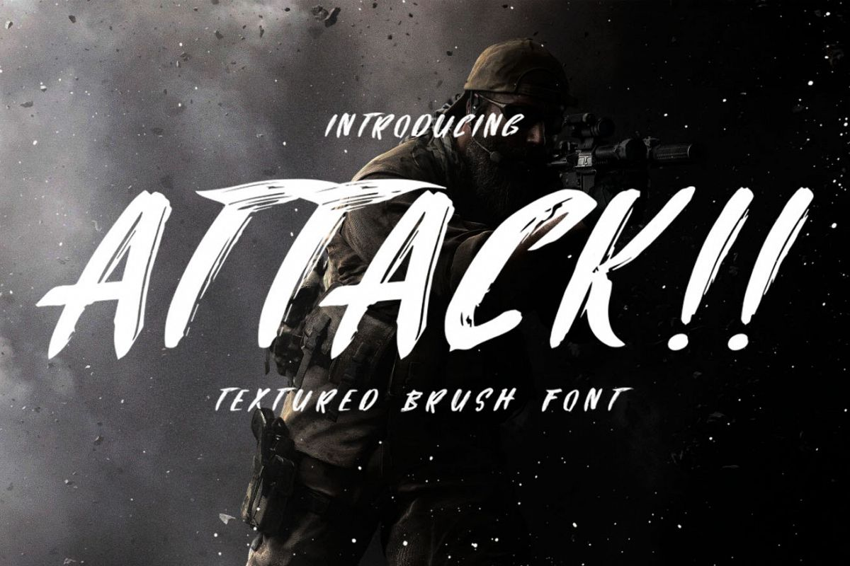 Attack Brush Font example image 1