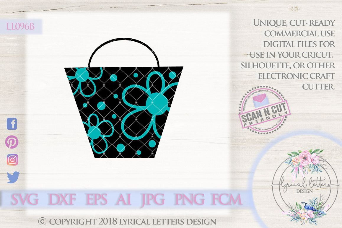 Shopping Bag with Polka Dots and Flowers SVG Cut File LL096B example image 1