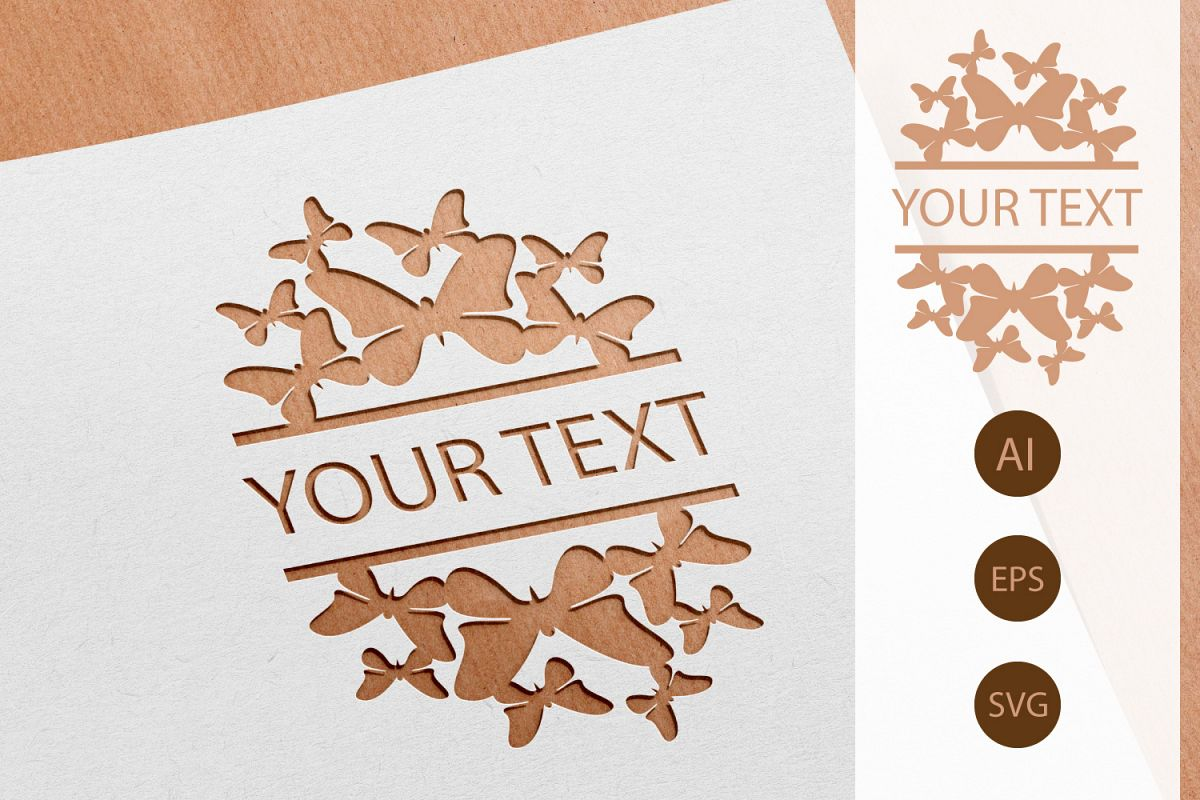 Butterfly Invitation Paper Cut AI, SVG, EPS example image 1