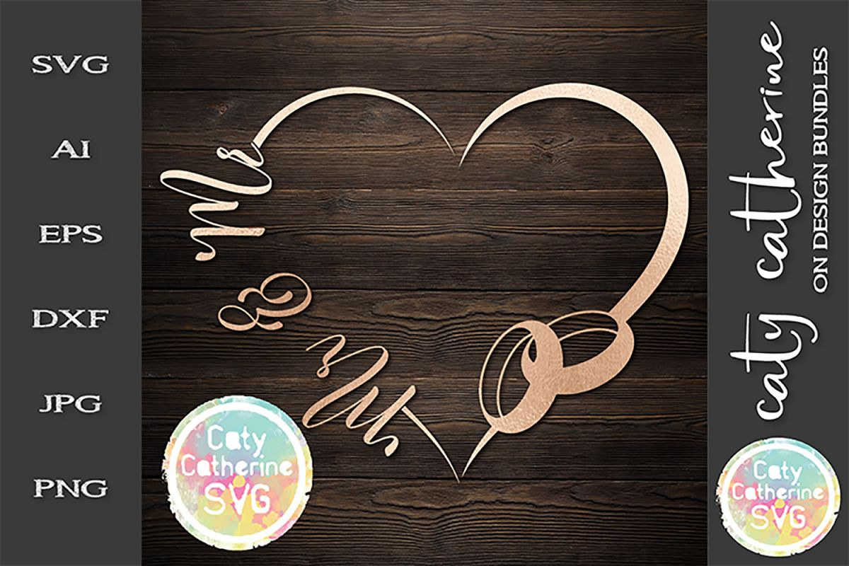 Wedding Love Heart Frame With Rings Mr & Mr Bundle SVG Cut F example image 1