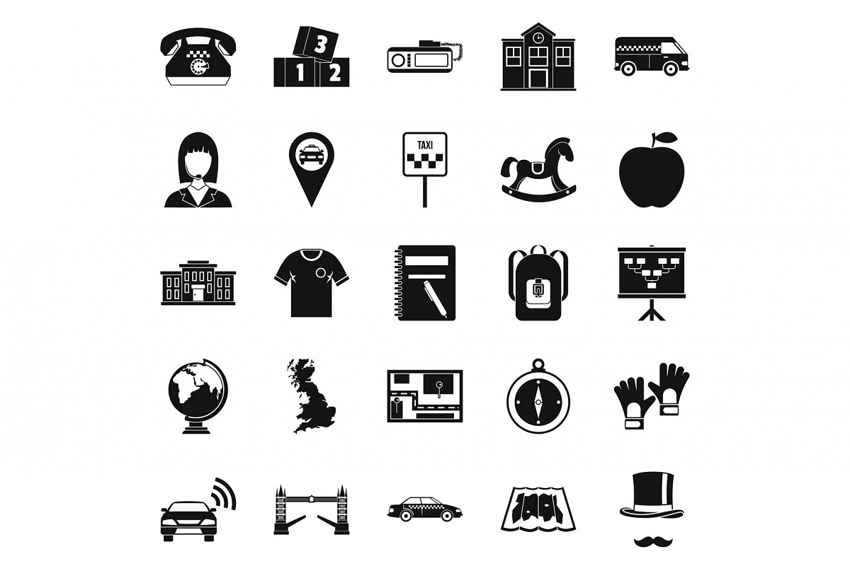 Autobus icons set, simple style example image 1