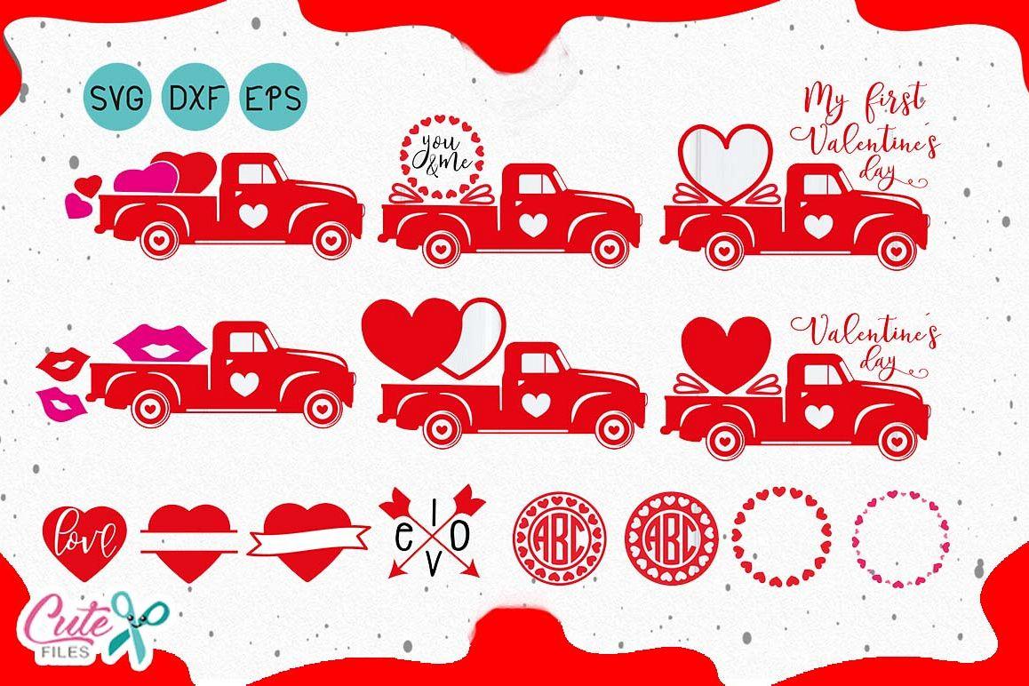 Valentine S Day Truck Svg Monogram Frames