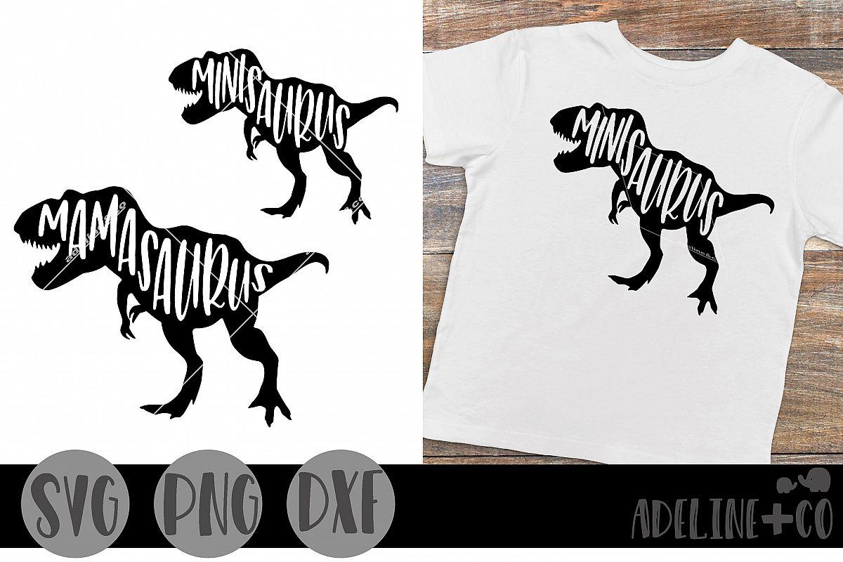Mamasaurus, minisaurus bundle SVG PNG DXF example image 1