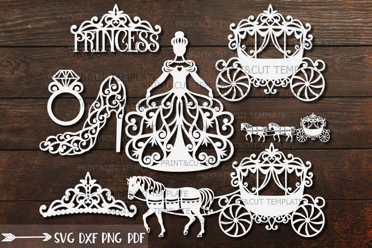 Wedding Princess Bride Bundle cut out svg dxf templates example image 1