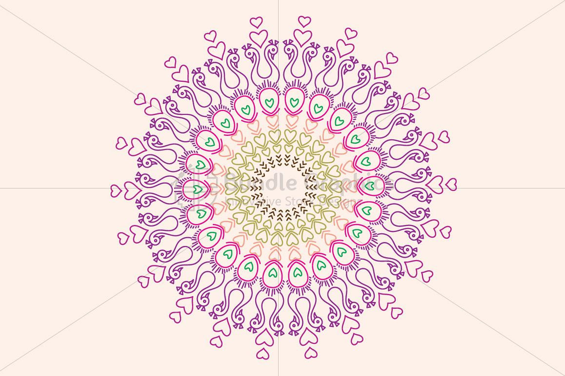 Peacock Birds - Linear Art Mandala Graphics example image 1