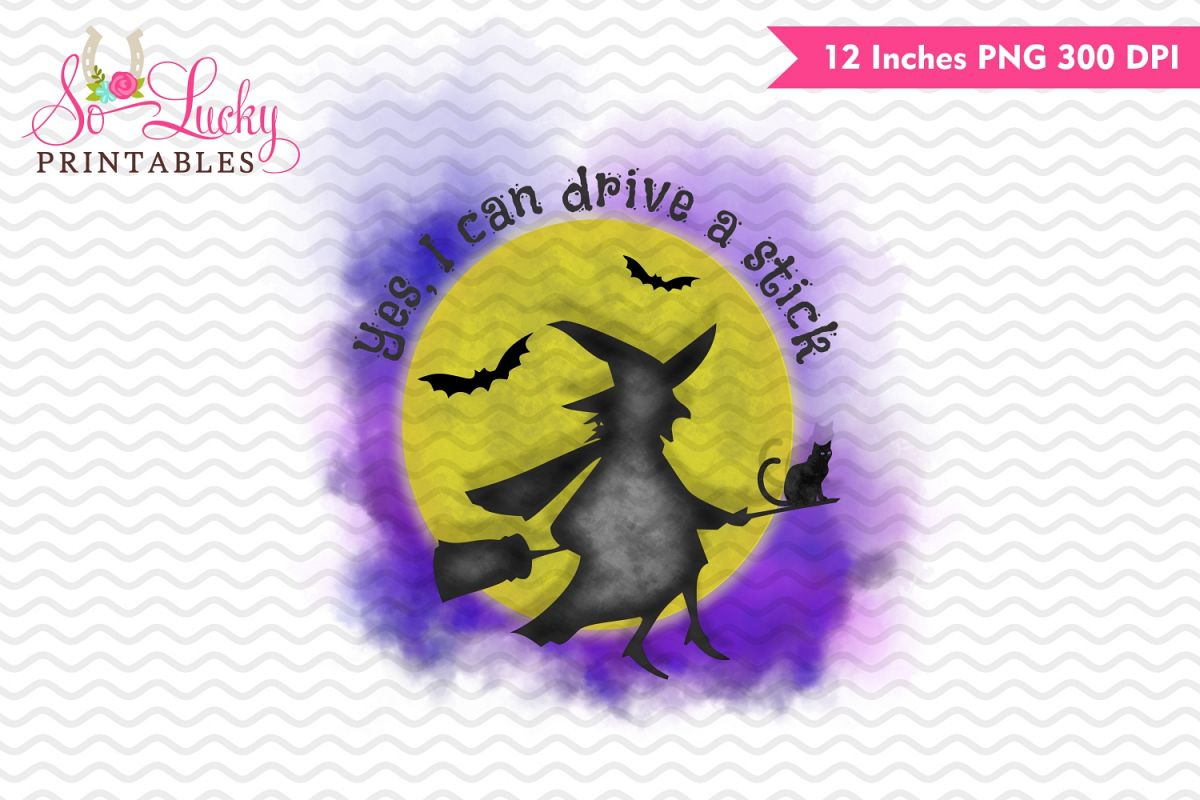 Witch drive a stick Halloween watercolor sublimation design example image 1