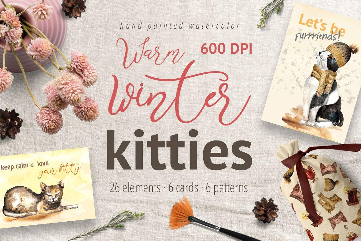 Warm Winter Kitties - watercolor example image 1