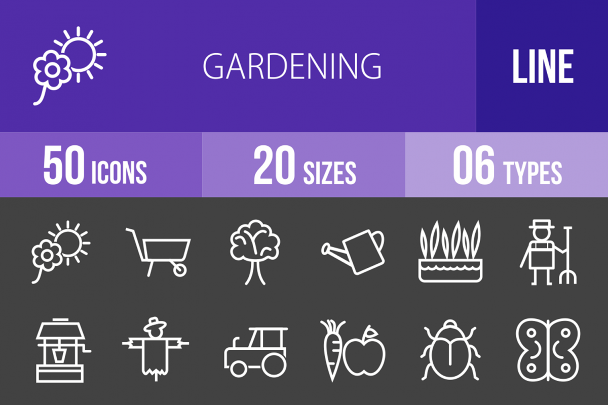 50 Gardening Line Inverted Icons example image 1