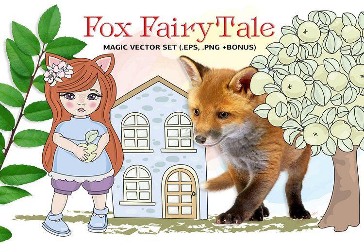 FOX FAIRY TALE Cartoon Color Vector Illustration Set example image 1