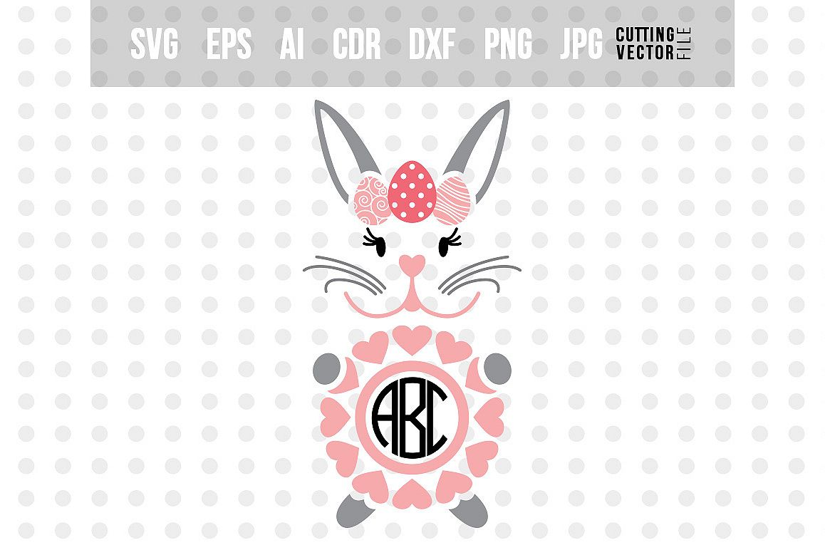 Bunny Monogram SVG - Easter Vector example image 1