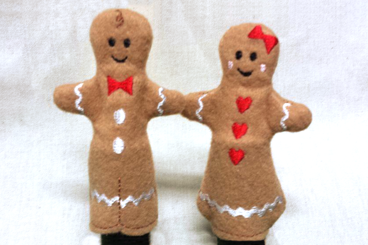 Gingerbread Finger Puppet Set in the Hoop ITH Embroidery example image 1