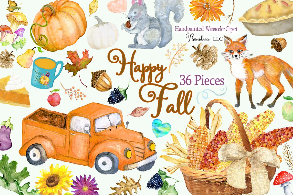 Watercolor Fall Clipart - Autumn Clipart - Transparent PNG example image 1
