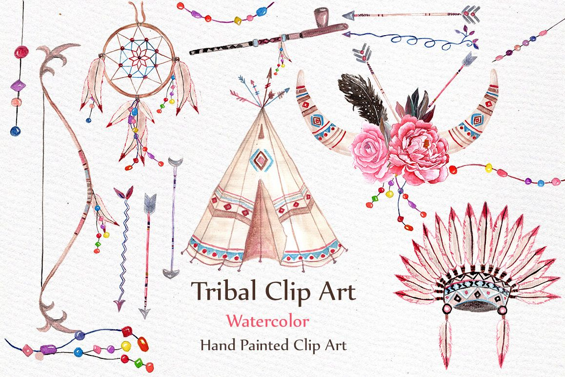 Watercolor Tribal clip art set example image 1