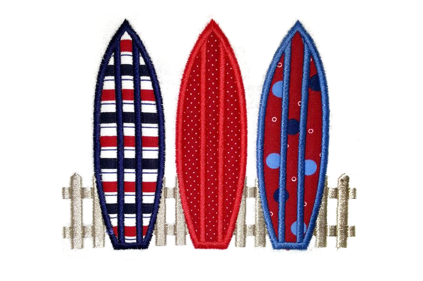 3 Surfboards on Fence Applique Embroidery Design example image 1