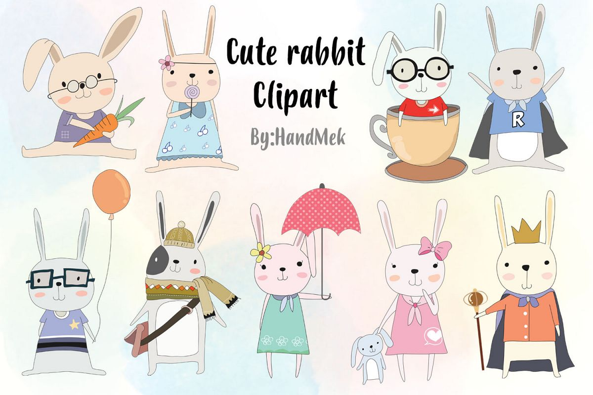 Cute rabbit Clipart example image 1