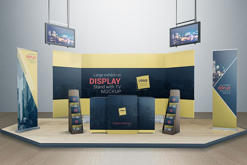 Exhibition Booth Mockup Free Download : Various tradeshow exhibition booth mockups