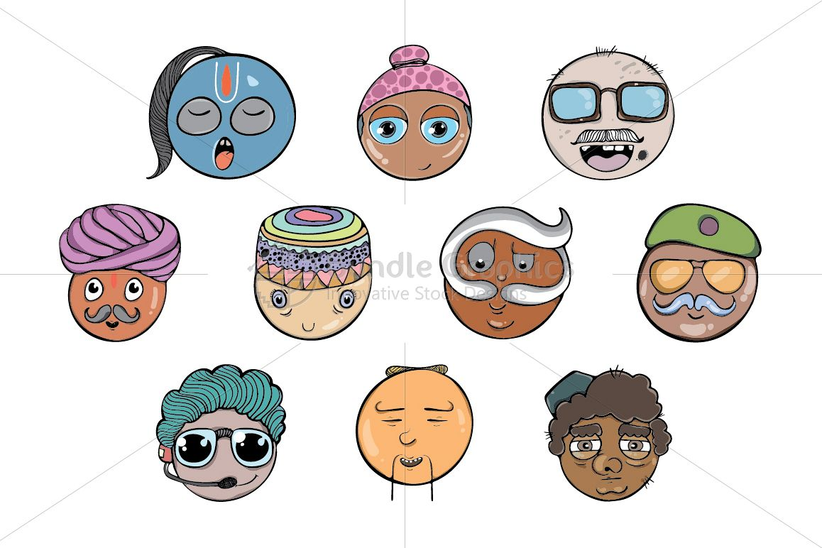 Cool Faces - Freehand Style Illustrative set example image 1