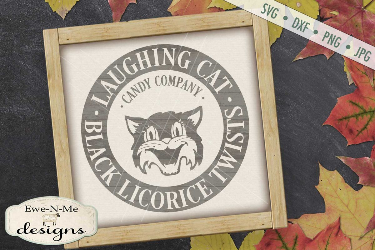 Laughing Cat Black Licorice Twists SVG DXF Files example image 1