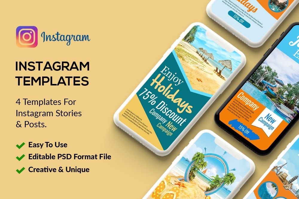 4 Tour Travel Instagram Stories Psd example image 1