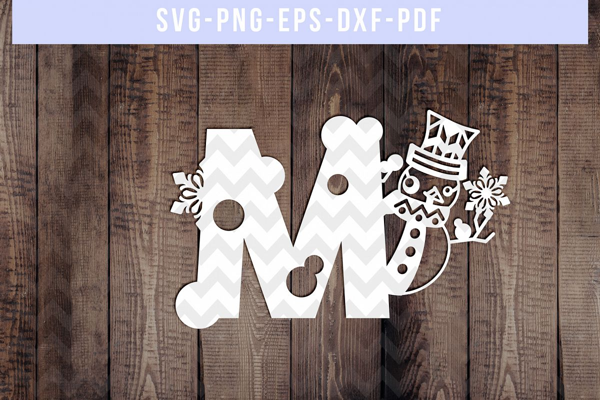 Snowman Font M Paper Cut Template, Winter Cutting SVG, DXF example image 1
